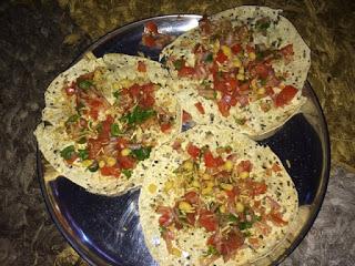 Appetisers  - Crispy Masala Papad with spicy tomato and onion topping; Appetisers - Crispy Spicy tomato onion masala papad